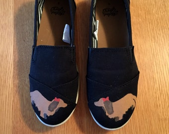 Custom Dachshund Silhouette Hand-Painted Shoes!