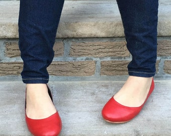 Frances Red Leather Ballet Flats