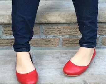 Frances Red Leather Ballet Flats
