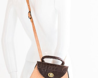 Four Leather Vintage Cross Body Handbag| Hand Tooled Leather Purse | Croc Skin Purse | Leather Backpack | Square Cross Body |