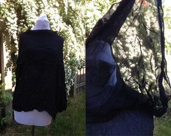 SALE 1980s 90s Black Sheer See Thru Long Sleeve Shirt Grunge Chic Size M/L
