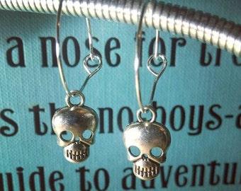 Skull Charm Hoop Earrings