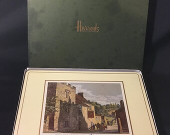 "Vintage Harrods Knightsbridge ""Old English Inns"" Place Mats, Placemats, Set of 6 in Box by Pimpernel, in Great Condition"