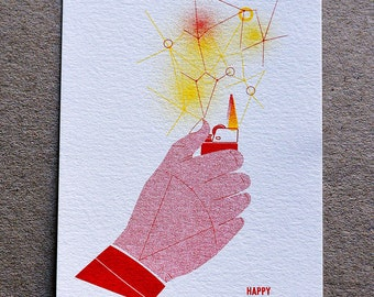 Happy Birthday Risograph Print