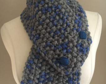 Knitted Cozy Bulky Grey/Blue Buttoned Cowl Neck Warmer Handmade Accessories Ready To Ship