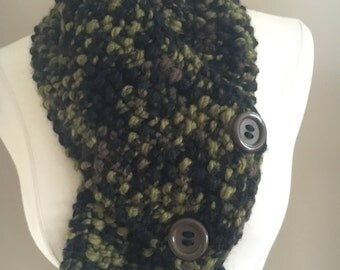 Knitted Cozy Bulky Green/Black/Brown Cowl Neck Warmer Handmade Accessories Ready To Ship
