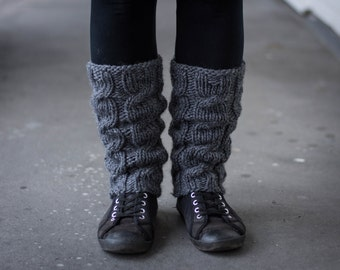 Leg Warmers In Dark Gray/ Boot cuff / Wool Leg Warmers