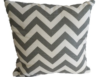 Gray Chevron Decorative Pillow Cover with Zipper