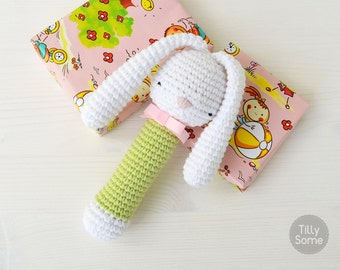 Sleepy Bunny Rattle Pattern | Crochet Rattle Toy | Baby Rattle | Teether Pattern | Infant Rattle PDF Crochet Pattern