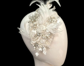 Feather, crystal and pearl headpiece - April