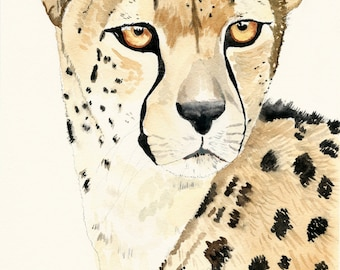 Cheetah wall decor, watercolour cheetah, cheetah art print, nursery wall art, Safari nursery decor, Kids room wall art, cheetah painting
