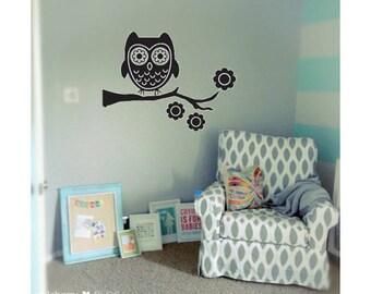 Nursery owl on a branch decal   Baby's room decal   baby   boy or girl   nursery