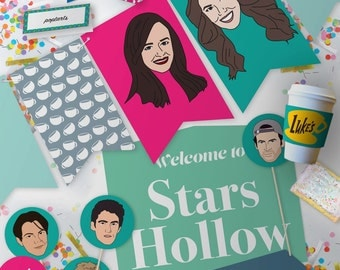 Gilmore Girls Party Kit // Bunting + Toppers + More // Downloadable + Printable