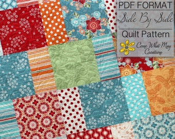 PDF Quilt Pattern, Layer Cake Quilt Pattern, Side By Side Quilt Pattern, Lap Quilt Pattern, Baby Quilt Pattern, Beginner Quilt Pattern, Easy