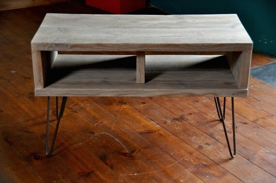 Reclaimed wood coffee table tv stand hairpin steel legs for Stand up coffee table