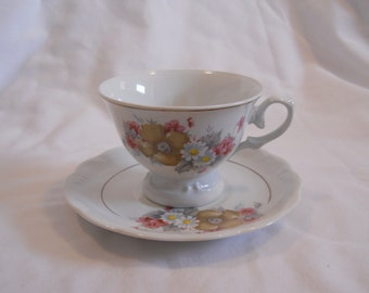 Vintage FTD Teacup and Saucer Made for FTD in 1985 Made in Brazil