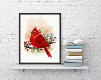 Cardinal bird print red cardinal art, cardinal gift, cardinal decor, cardinal bird wall art watercolor cardinal bird gift, animal home decor