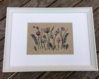 Wildflower picture. Free motion machine embroidery. Floral art.