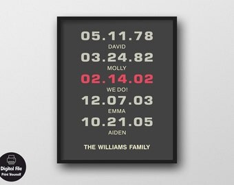 """Family Dates Wall Art, 8x10"""", Personalized Printable Home Decor, Anniversary Gift, Important Moments, Children Birthdays, Wedding Year"""