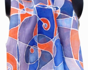 Hand Painted Silk Scarf Abstract, 130 x 35 cm (51 x 14) inches