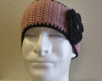 Womans Crochet pink/black flower ear warmer