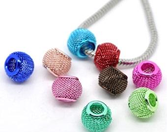 20 Mixed Color Mesh Spacer Beads Fit Charm Bracelet 12mm x 10mm Wholesale Lot