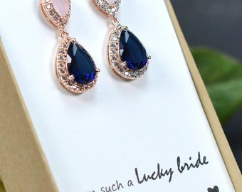 Blush pink navy blue ROSE GOLD Wedding Jewelry Bridesmaid Gift Bridesmaid Jewelry Bridal Jewelry earring Drop dangle Earring,bridesmaid gift