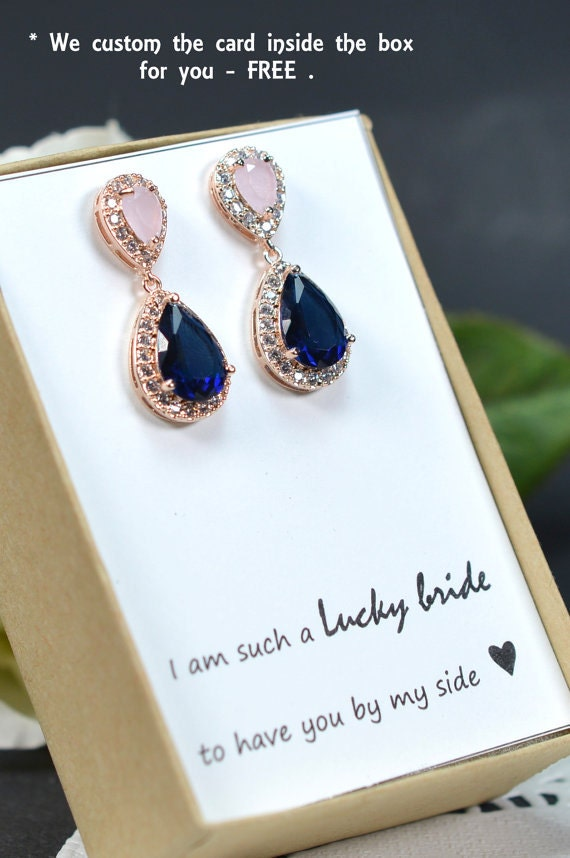 Blush Pink Navy Blue Rose Gold Wedding Jewelry Bridesmaid Gift