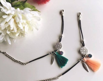 Boho Bracelet Silver Bohemian Bracelet Swarovski Charm Swarovski Bracelet Feather Charm Green Orange Tassel Bracelet Mix and Match Bracelets