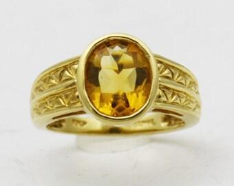 Citrine Gold Ring, 10k Gold Yellow Stone Ring, Gemstone Rings