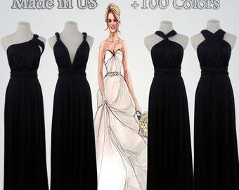 Bridesmaid Gift Set,Black Bridesmaid Dress,4 Bridesmaids,Gifts Set,Party Gift Set,Bridesmaid dress Full-Length,Handmade Bridesmaid Dress