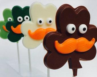 St. Patricks Day Chocolate, Mr. Shamrock Lollies, Party Favors, Shamrocks, Luck of the Irish, Mustache