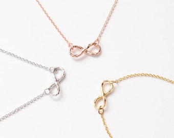 Hammered Infinity Necklace, Tiny Necklace, 3 Colors Necklace, Gift for 3, Friendship Necklace, Simple Necklace, Girls Jewelry