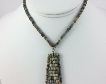 Egyptian Faience Mummy Beads Necklace & Pendant