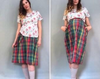 80s Plaid Maternity Skirt, Maternity Midi Skirt, Vintage Maternity Skirt, High Waist Maternity Skirt, Hipster Skirt, Preppy Maternity, Large