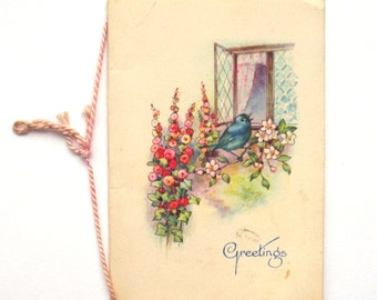 Edwardian Blue Bird Greeting Card, New Year's Greetings, Small, circa 1900s