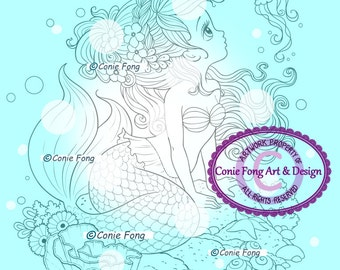SALE-Digital Stamp, Digi Stamp, digistamp, Ariela Mermaid by Conie Fong, Coloring Page, mermaid, girl, fantasy, children
