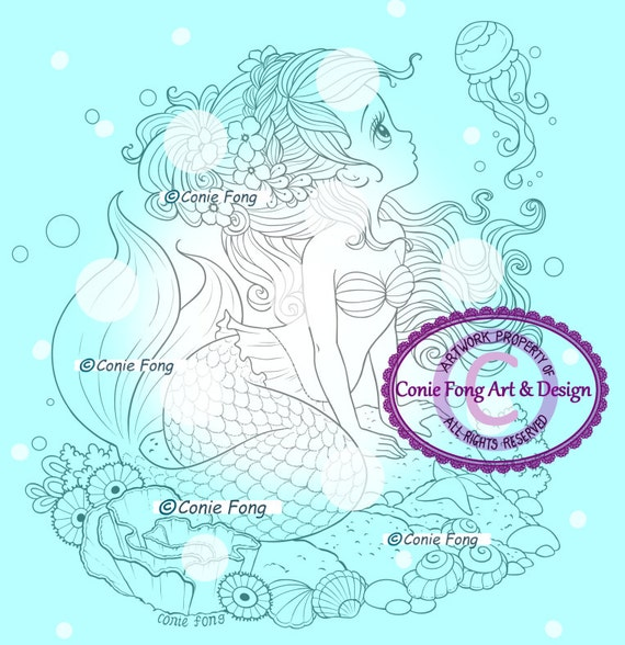 Digital Stamp, Digi Stamp, digistamp, Ariela Mermaid by Conie Fong, Coloring Page, mermaid, girl, fantasy, children