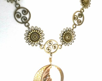 Antique Bronze Flower and Mother of Pearl Necklace