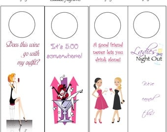 Wine Tags Bottle Neckers for girls' night out Holidays or any occassion