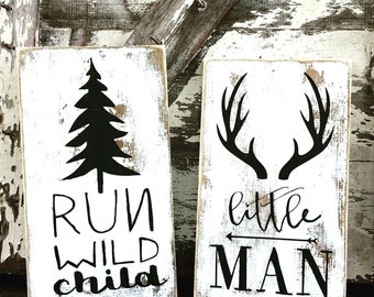 Woodland Nursery Decor | Little Gent | Cottage Home Decor | Run Wild Child | Farmhouse Home | Little Lady | Childrens Room Decor | Whitewash