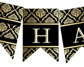 "Hajj Mubarak/Mabroor banner-""Royal Elegance"", DIY Decoration. Islam Eid decor. Printable, instant download. 2 letters per page"