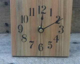 Butcher Block Desk Clock, Reclaimed Wood Clock, Pallet Wood Clock, Rustic Desk Clock