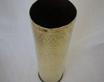 WW1 Trench Art Vase engraved Yser 1916