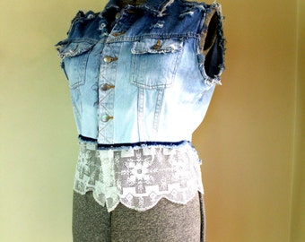 Upcycled Distressed Denim Vest // Ombre Bleached // White Lace Trim