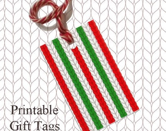Red Green Stripe Knitted Gift Tags / Printable Knitting Gift Tags /  Christmas Gift Tags / Knitter Scrapbook Tags /