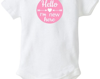 Hello I'm new here Iron On transfer Personalized shirt DIY new baby newborn transfer printable