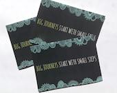 3 x Big Journeys Start With Small Steps Postcard - Original Doodle Design