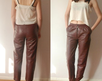vintage 80's 90's OXBLOOD leather trousers pants S