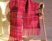 Handwoven scarf, Red plaid, Woven scarf, Handwoven shawl, Hand-dyed yarn, Colored scarf, Wool and cotton yarn, Soft  scarf